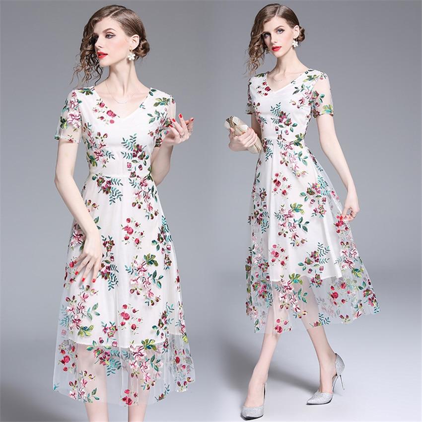 2019 Robe d'été femmes à manches courtes Sexy pure Floral broderie maille Robe dames Vintage robes mi-mollet Robe Femme - 4