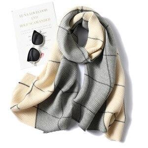 Image 3 - 2020 Winter Scarf for Women Fashion Plaid Fold Cashmere Scarves Neck Warm Thick Shawl Wrap Lady Pashmina Bandana Female Foulard