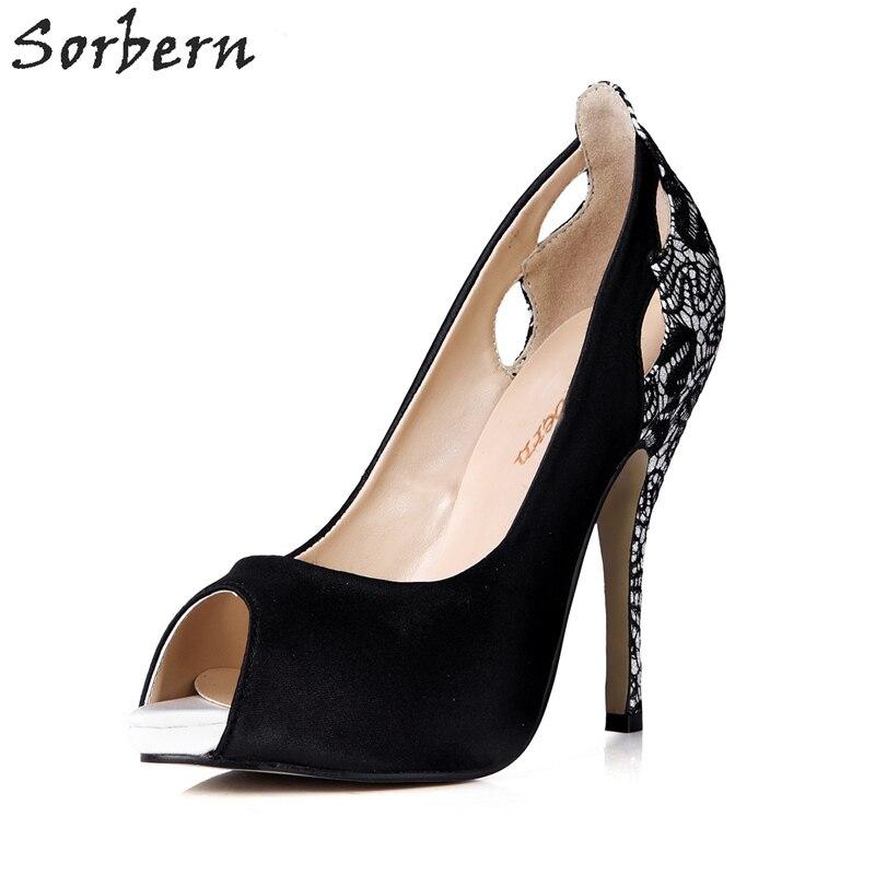 Здесь продается  Sorbern Black Silk Women Pumps Peep Toe Lace Hollow Out Slip On Shoes High Heels Women Platforms Black Heels Custom Color Pumps  Обувь