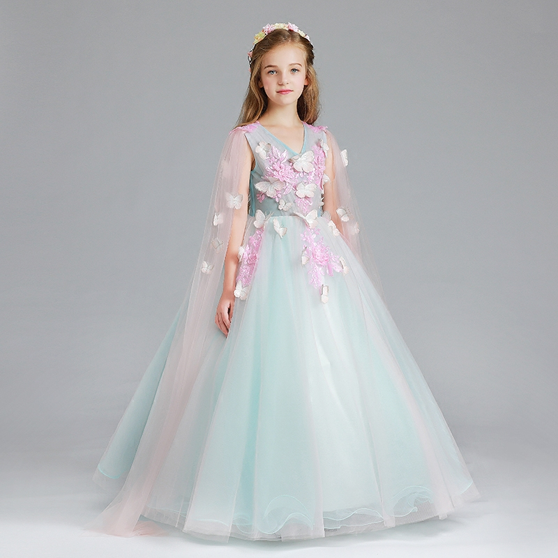 New Children Kids Model Show Pageant Flowers Ball Gown Mesh Long Dress Luxury Girls Wedding Birthday Party Dress For 5~13years girls birthday wedding evening party embroidery flowers lace princess dress children kids model show costume pageant long dress