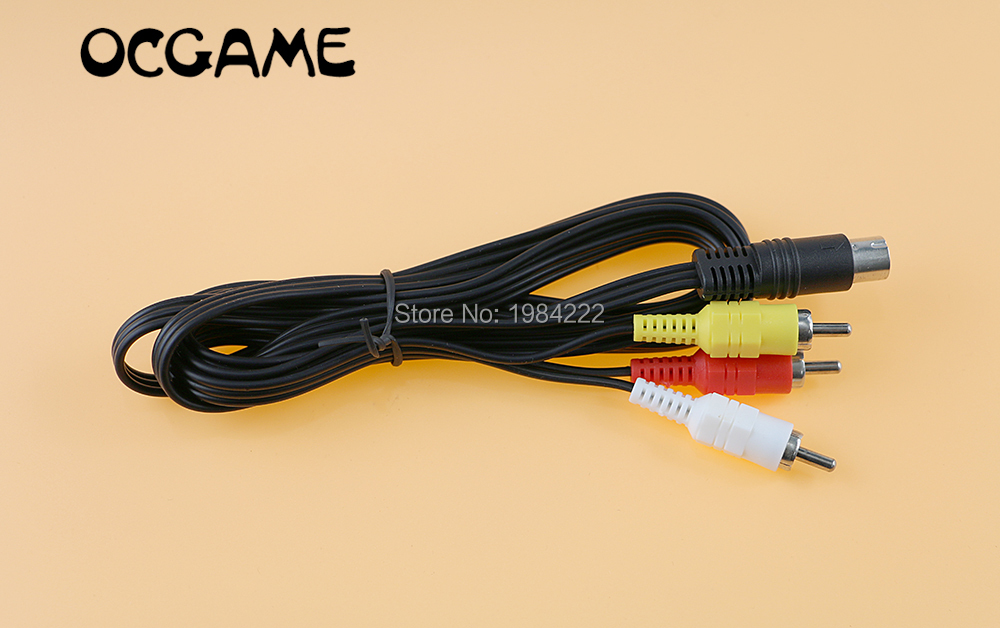 OCGAME 1 8m Nickle Plated Stereo AV Leads Audio Video RCA Composite Cable for Sega Saturn