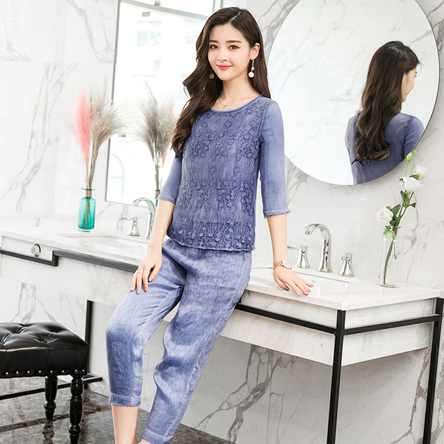 Women Pant Suits Slik Linen 2 Piece Set Top And Pants Elegant