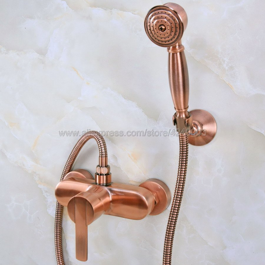 Antique Red Copper Bathroom Shower Faucet Bath Faucet Mixer Tap With Hand Held Shower Head Set Wall Mounted Kna290Antique Red Copper Bathroom Shower Faucet Bath Faucet Mixer Tap With Hand Held Shower Head Set Wall Mounted Kna290