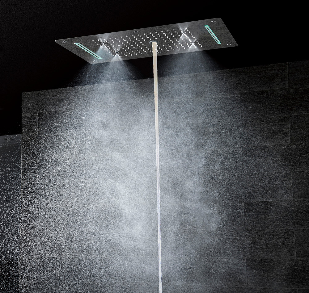 Bathroom Shower Set Accessories Faucet Panel Tap Thermostatic Mixer LED Ceiling Shower Head Rain Waterfall Bubble Shower CS5422