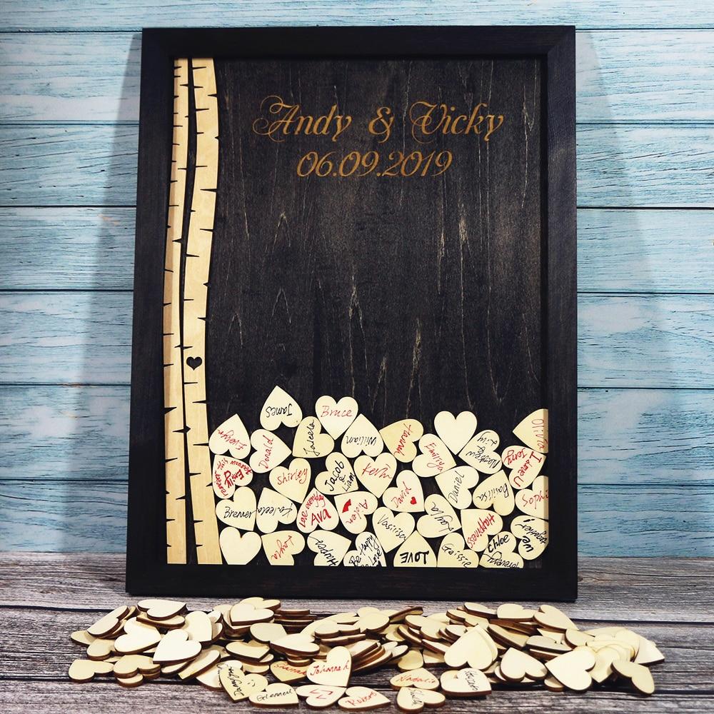 ツリー結婚式のゲストブック結婚式の装飾素朴なカスタムゲストブックの代替装飾誕生日ベビーシャワーパーティー  グループ上の ホーム&ガーデン からの 署名ゲストブック の中 1