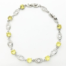 Awesome Gold yellow Women Link Chain Bracelets & Bangle Sterling Silver Jewelry Impressive Gift Free shipping