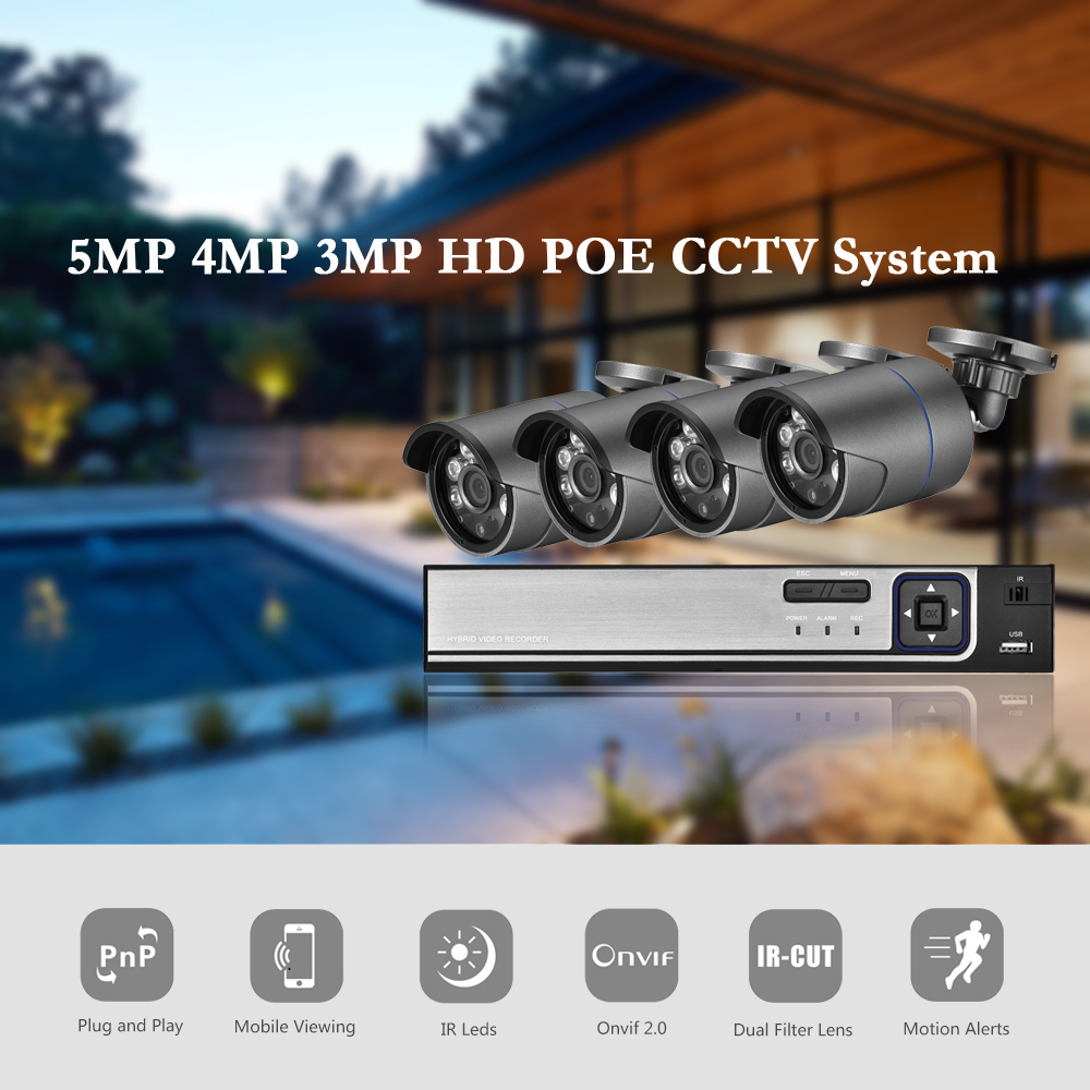 AZISHN H.265 5MP POE NVR  CCTV Security System 5.0MP Audio Record IP Camera metal 6IR P2P Onvif Outdoor Video Surveillance Kit