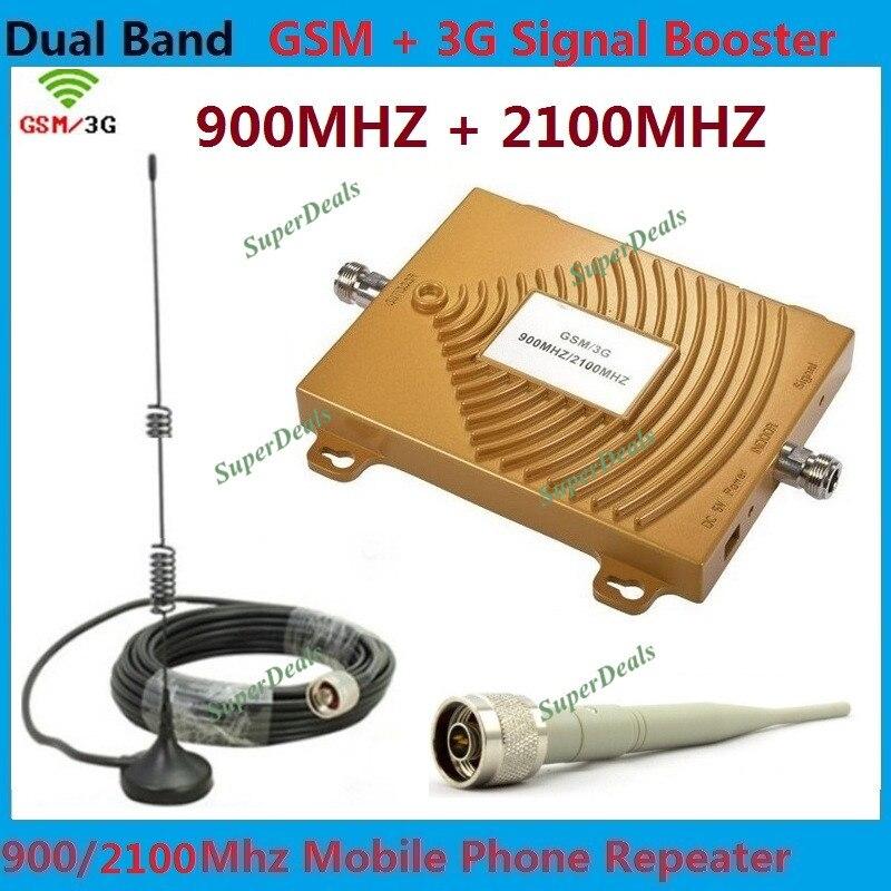 Double bande téléphone portable GSM 3G répéteur GSM 900 Mhz Signal Booster + 3G WCDMA répéteur double celulaire 3G amplificateur Kits avec antenne