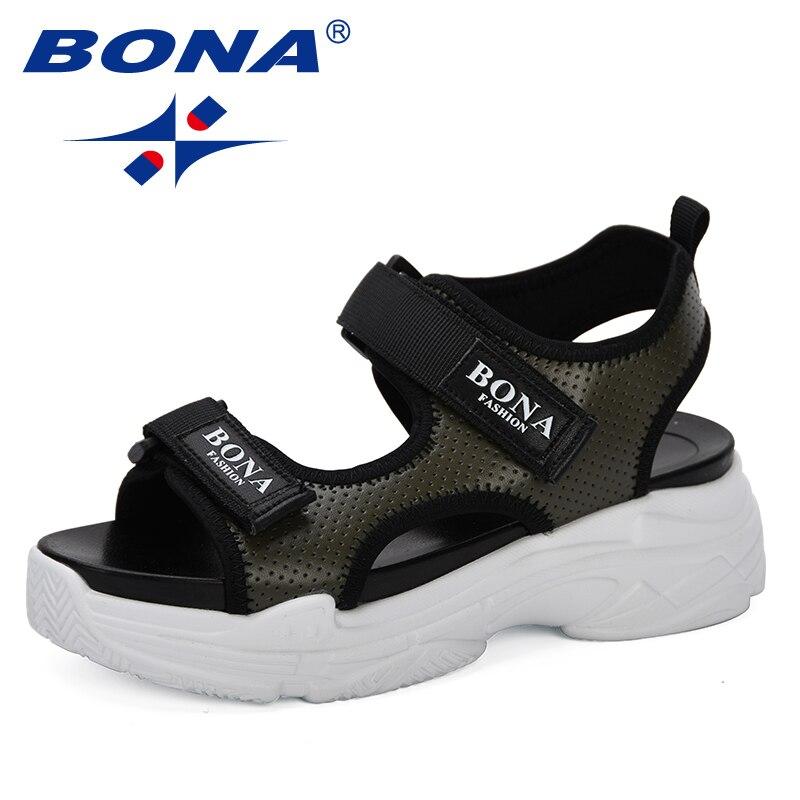 BONA 2019 New Style Summer Women Sandals Platform Wedges Sandals Leather Swing Peep Toe Casual Shoes Women Walk Shoes Trendy