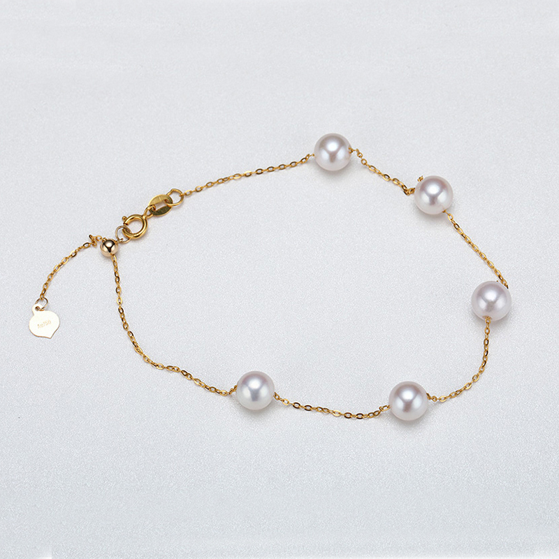 Sinya Au750 gold Bracelet Anklet with natural pearls for women girls Mom 20cm with move gold beads can adjust length (10)