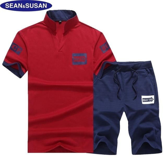 7945128e71ae65 Sean&Susan Print T-shirts and Shorts Set Men Set Summer Pants Set Red  Tracksuit Man Cotton Tops 2 Pieces Set Jersey Size 4XL