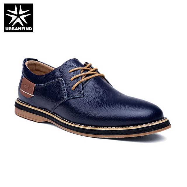 Hot Sale Men Fashion Leather Shoes Size 38-44 Casual Style Man Lace Up Oxfords For Party Wedding Black Blue Brown
