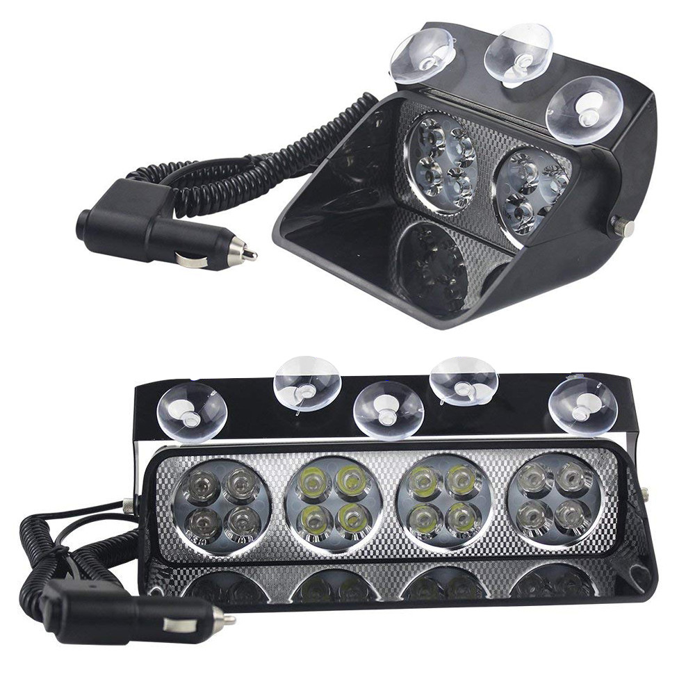 8/16 LED Car Strobe Light Windshield Sucker Scoop Police Flashing Warning Lights Fog Lamp Safety Emergency Signal Light 12V