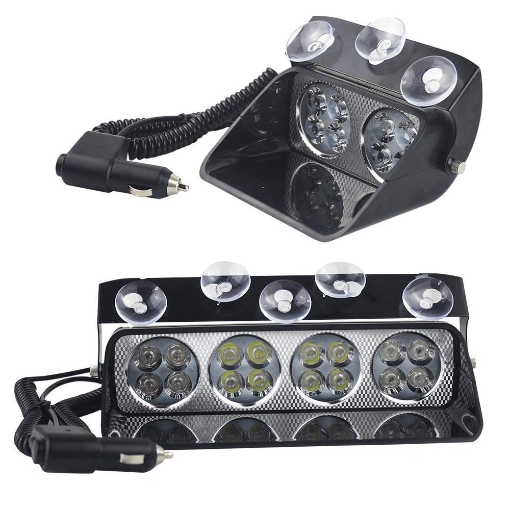 8/16 LED Car Strobe Light Windshield Sucker Scoop Police Flashing Warning Lights Fog Lamp Safety Emergency Signal Light 12V