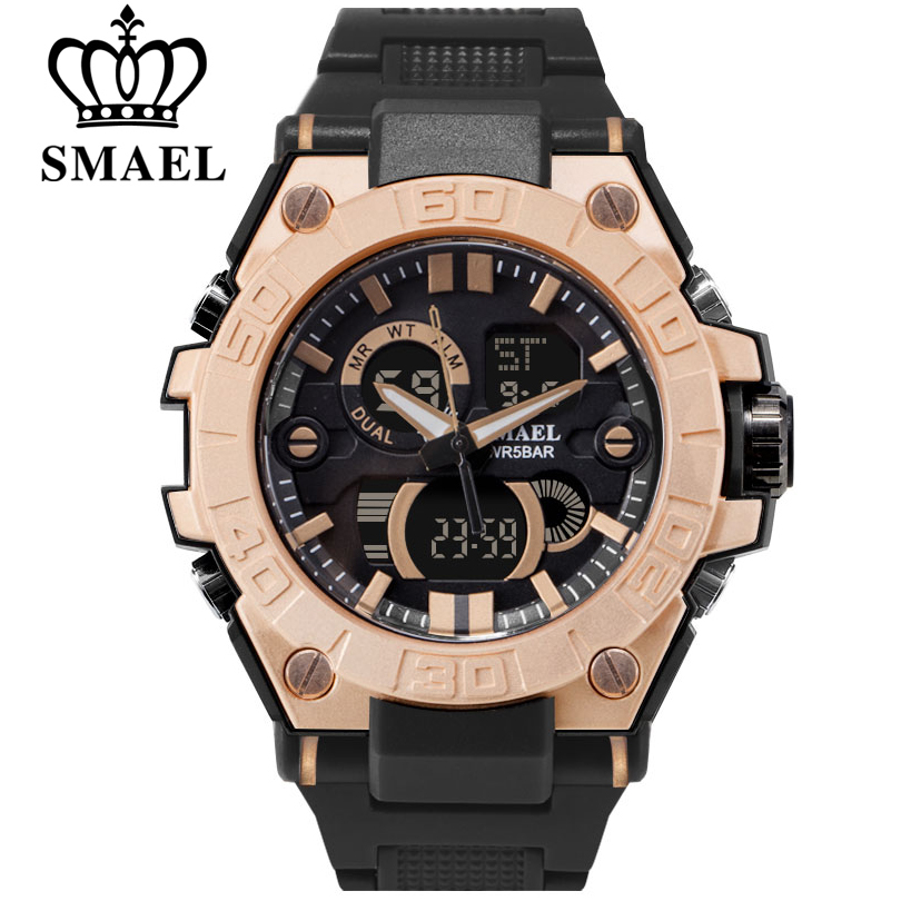 SMAEL Luxury Brand Men Analog Digital PU Watchband Sports Watches Men's Army Military Watch Man Quartz Clock Relogio Masculino