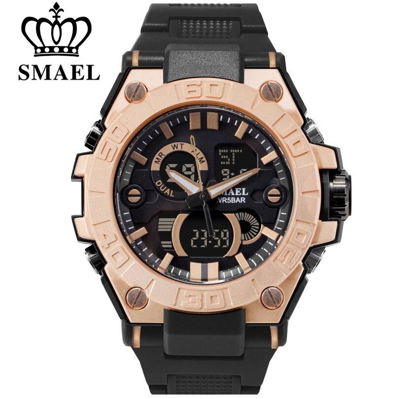 SMAEL De Luxe Marque Hommes Analogique Numérique PU Bracelet de Sport Montres Hommes Armée Militaire Montre Homme Quartz Horloge Relogio Masculino