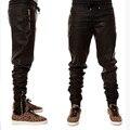 Новый мужской хип-хоп искусственной кожи черный лодыжки боковой молнии бегунов брюки канье уэст Свободные брюки байкер M41