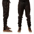 New mens hip hop faux leather black ankle side zipper joggers pants kanye west  Loose biker pants M41