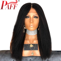 PAFF 250% Density Brazilian Lace Front Human Hair Wigs Kinky Straight With Baby Hair Brazilian Remy Hair Wigs Pre Plucked