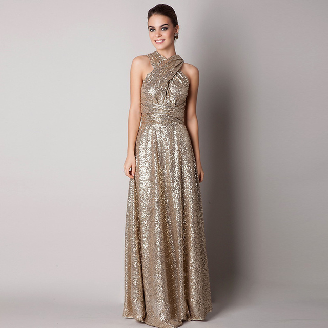 On Sale Cheap Gold Sequined Glitter Backless Prom Dress Long Evening ...
