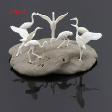 24pcs plastic Birds Small figure Toy Red-crowned Crane model train 1:50 O Scale New GY25050 railway modeling
