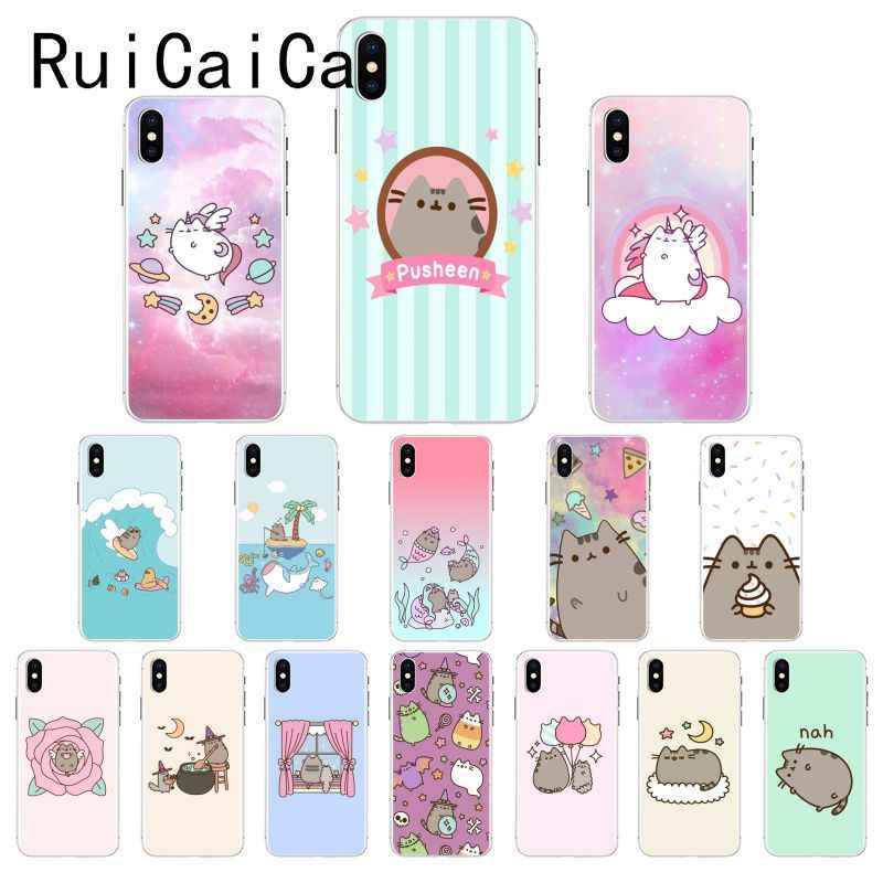 Ruicaica Cute Pusheen Cat Cartoon Newly Arrived Phone Case for iPhone 8 7 6 6S Plus X XS MAX 5 5S SE XR 10 Cover