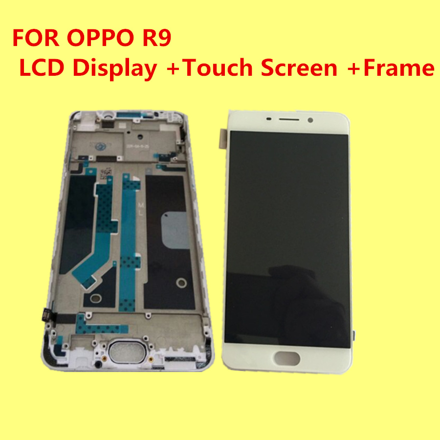 High quality For OPPO R9  5.5 LCD Display +Touch Screen +Frame Digitizer Glass Lens Assembly Replacement Give silicon case grade a replacement lcd glass screen ecran touch display digitizer assembly for oppo r9 plus 6 0 inch white with free tool kit