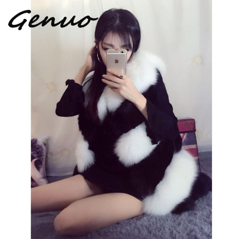 Genuo 2019 autumn and winter new fur fake fur vest vest women 39 s slim fox fur stitching faux fur coat large size female S 2XL in Faux Fur from Women 39 s Clothing