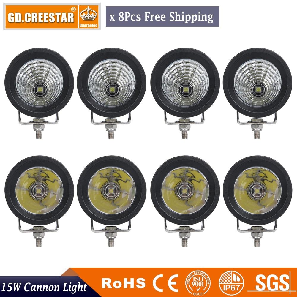 15W 3 palcové LED pracovní světlo Motocykly 1PC COB LED světlomety Lampa Mlhovky Pracovní reflektor 6000K Bílá lampa x8pc