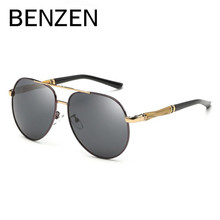 BENZEN HD Polarized Sunglasses Men Vintage Oversized Pilot Male Sun Glasses Driving Glasses For Men Shades Black With Case 9193