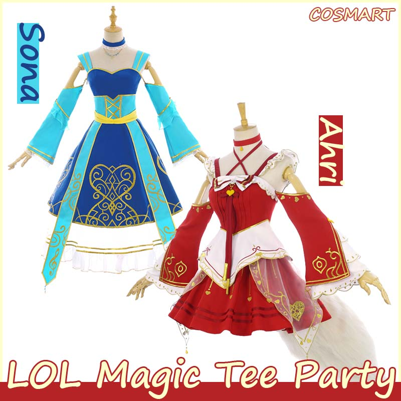 [Limited STOCK]+FoxTail(Inflatable) Game LOL Fanart Ahri and Sona Magic Tee Party Lolita Dress Cosplay costume NEW free shipping