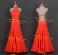 The new modern ballroom competition dance dress orange turtleneck Strapless pendulum bone for women
