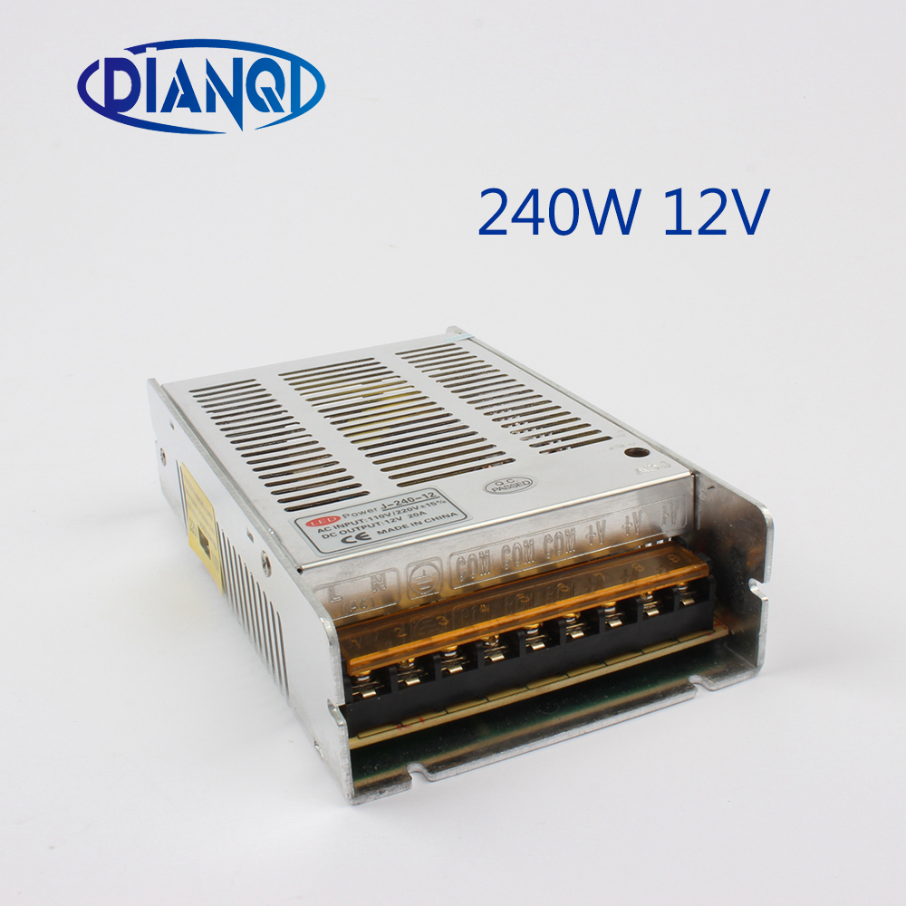 Switching power supply Driver 240W 12V 20A 240-12 Silver LED Strip light Triple Output AC 110-220V Input AC to DC 12V waterproof 18 channel output led driver box 12v 20a led power adapter box 240w switching power supply box