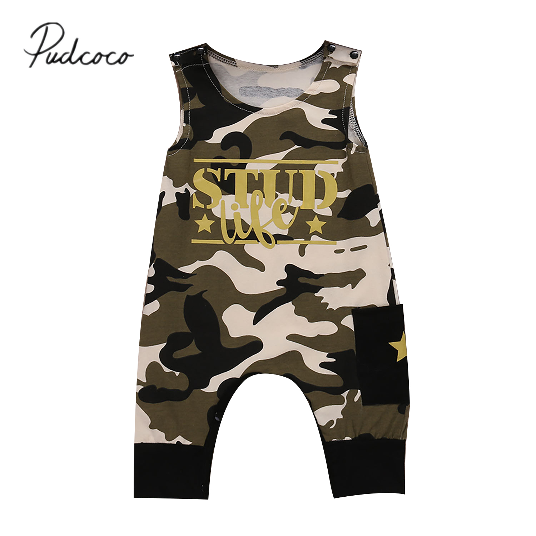Pudcoco 2017 Cute Newborn Kids Baby Boy Girl Cotton Romper Camo