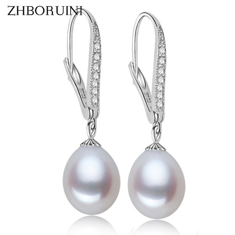 ZHBORUINI Fashion Pearl Earrings Natural Freshwater Pearl Pearl Jewelry Drop Earrings 925 Sterling Silver Jewelry For Woman Gift
