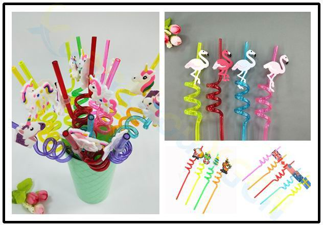 Creative Reusable Flamingo Unicorn Heart Flag Straw Juice Drink Milk Tea Soft Plastic Straws Bar Wedding Party Decoration