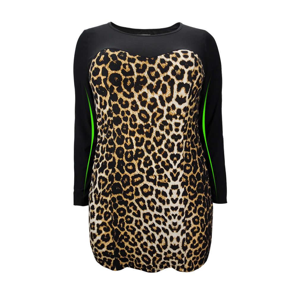 Женское свободное платье большого размера, леопардовое цветное женское платье большого размера, весенне-Летняя туника, облегающие вечерние платья, 5XL 6XL 7XL H102