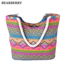 BEARBERRY NATIONAl GEOMETRIC CANVAS SHOULDER BAG Women Casual Cord Shopping Tote Bag Female's Ethnic Large Rope Travel Handbag