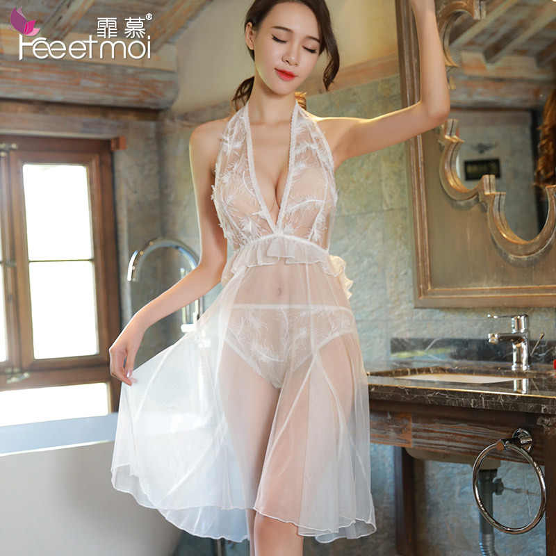 39e27ff9997 Long White Mesh Sexy Nightgown See Through Lace Halter Deep V Neck Backless Night  Wear Women