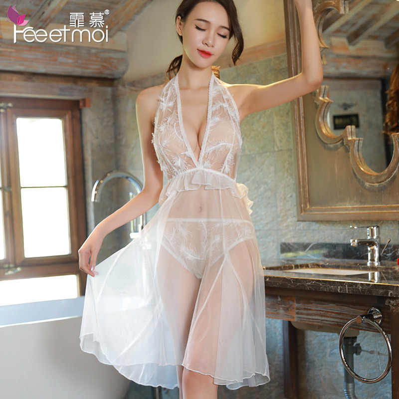 ccfd8df086c Long White Mesh Sexy Nightgown See Through Lace Halter Deep V Neck Backless  Night Wear Women