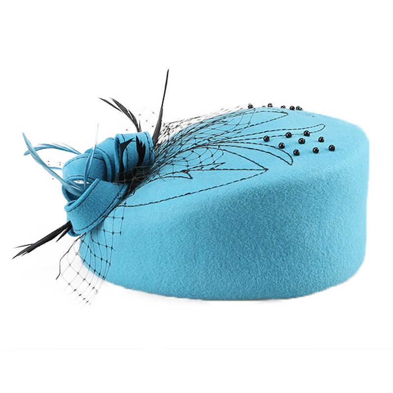 FS Fascinator Wanita 100% Australia Wol Kotak Obat Langit Biru Wanita Formal Merasa Derby Topi Gereja Bunga Pernikahan Femme