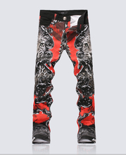 Hot sale  new designer men horse Painted red trousers fashion Skinny Pencil trousers