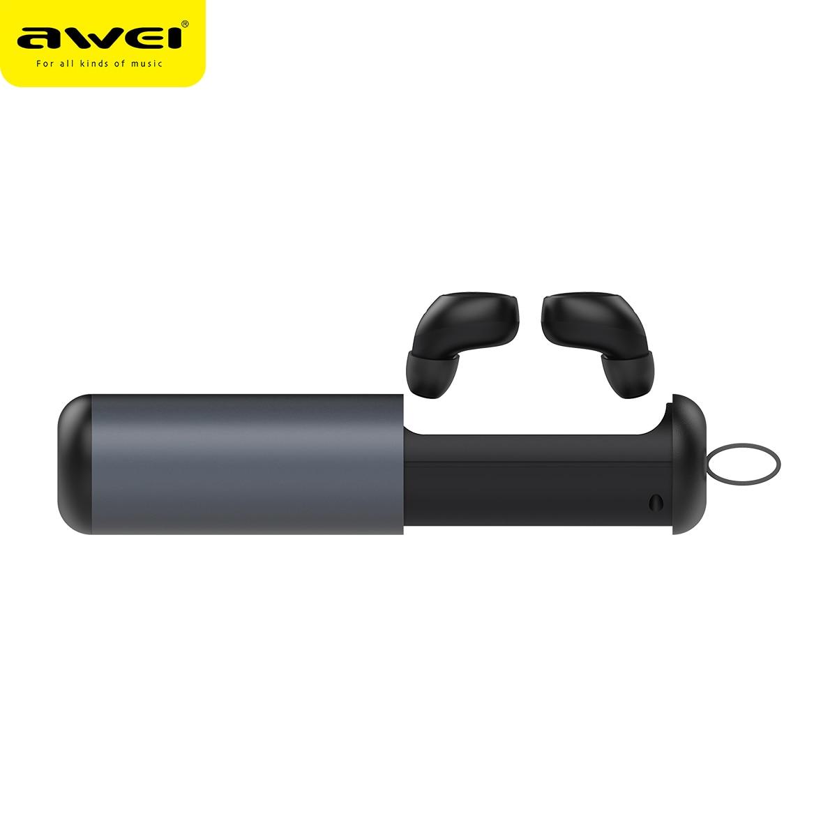 AWEI T5 TWS Bluetooth écouteurs d'affaires sans fil casque 3D stéréo casque et power bank avec micro Fone de ouvido Écouteurs