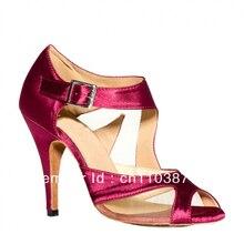 Meninas Borgonha Malha de Cetim Sapatos de Dança LATINA Sapatos de Dança de Salão Sapatos Salsa Barato
