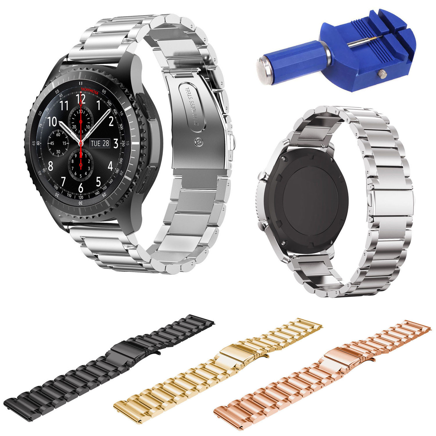 For Samsung Gear S3 Smart Watch Metal Strap 3 Beads Stainless Steel Band For S3 Frontier