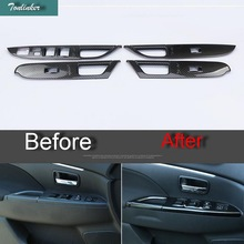 Tonlinker Car Styling ABS Armrest Trim Inner Door Handle Trim Cover Case Sticker with logo for Mitsubishi ASX 2013-15 4pcs