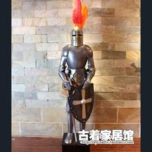Vintage armor of European Medieval Knight / life sized iron Samurai decoration bar restaurant decoration 2M