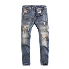 Fashion Designer Men Jeans Retro Wash Straight Fit 100% Cotton Destroyed Ripped Jeans Men Big Size 29-40 Dsel Brand Jeans Homme dsel brand free shipping new cotton fashion jean casual jeans european style straight simple bikermen slim fit loose jeans men