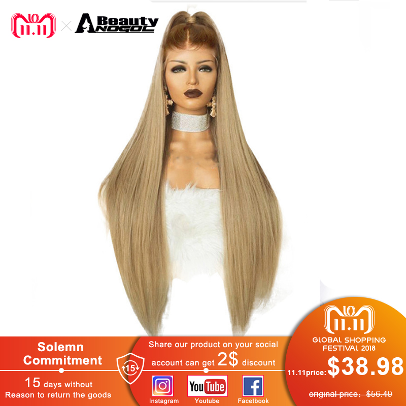 ANOGOL красота высокое температура волокно перука бесплатная часть длинные прямые волосы Искусственные парики коричневый Ombre блондинка для ж...