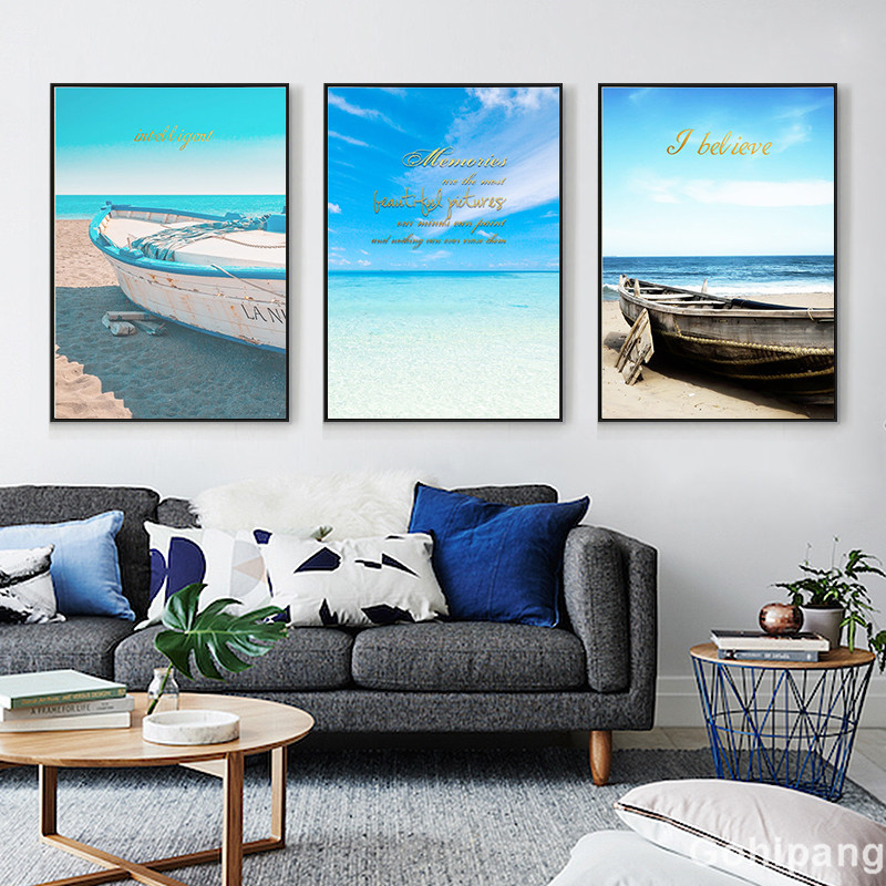 Seaside Home Decor Seascape Wall Art Print Nordic Canvas Painting Bedroom Living Room Picture Landscape Boat Decorative Painting in Painting Calligraphy from Home Garden